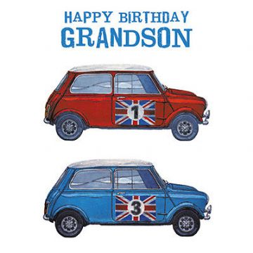 "GRANDSON BIRTHDAY CARD ""RED & BLUE MINIS"" SIZE 6.25"" x 6.25"" AGRI 9968"